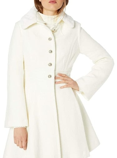 GUESS Women's Removable Faux Fur Collar Boiled Wool Coat